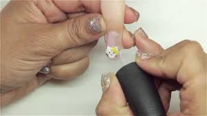acrylic 3 d cat u0026 bow nail art youtube