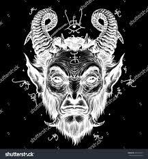 Devil Head Satire Satan Halloween Monster Stock Illustration