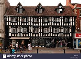old half timbered tudor style house high street lincoln stock