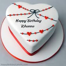 red white heart happy birthday cake rihanna
