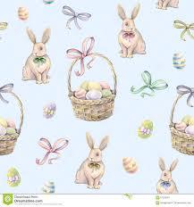 rabbit easter basket rabbit with easter basket on a blue background color easter eggs