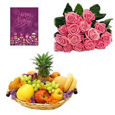 buy happy birthday card n fruit basket n roses 030 online best
