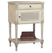 giverny french country louis xvi old cream caned nightstand side