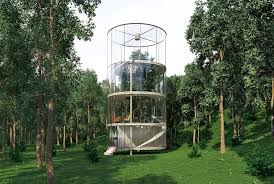 a tree lives inside this gorgeous glass house in the