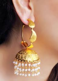 jewellery designers dhani engraved leaf hoop jhumkas shop earrings at