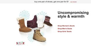 kmart s boots on sale kmart buy one pair of shoes get one for 1 00 freebies2deals