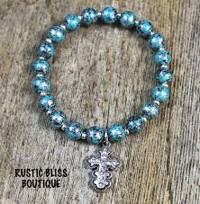 bead bracelet with cross images Beaded turquoise stretch bracelet with cross charm rustic bliss jpeg
