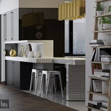 Black Lacquer Kitchen Cabinets by Leks Architects Kiev Apartment Black Lacquered Kitchen Cabinetry