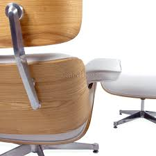 eames style lounge chair and ottoman white leather oak plywood