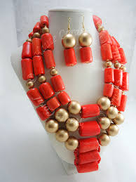 beads wedding necklace images Adaobi coral and gold beaded statement necklace hautecorals jpg