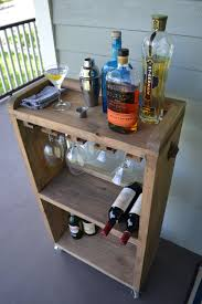 rolling bar cart wine rack kitchen bar reclaimed wood bar