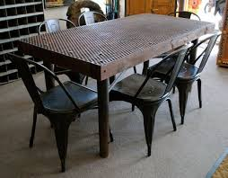 metal dining room tables rustic dining tables houzz throughout iron and wood dining table