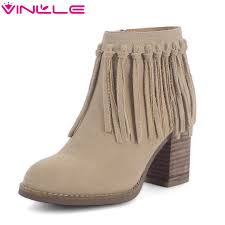 Brown Fringe Ankle Boots Online Get Cheap Black Fringe Boots Aliexpress Com Alibaba Group