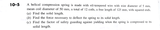 a helical compression spring is made with oil temp chegg com