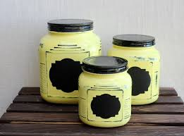 farmhouse yellow kitchen canister set with chalkboard label