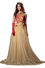 gown design light brown embroidery net semi stitch designer gown style salwar suit