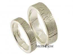 wedding band with engagement ring brent jess custom handmade fingerprint wedding rings