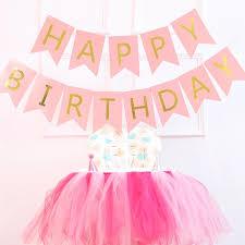 pink garland free shipping pastel pink white black happy birthday bunting