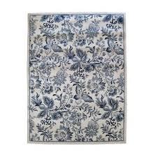 woolrich floral rug blue white 78x120