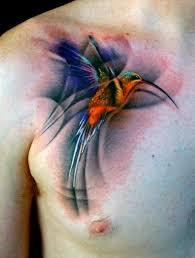 men chest bird watercolor tattoo tattoomagz