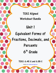 equivalency u0026 percents worksheets 6th grade math teks 6 4e g