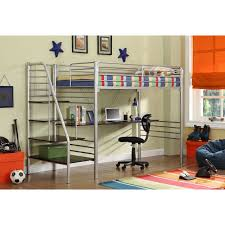 twin metal loft bed with desk and shelving free up space in any small bedroom with this modern metal loft bed