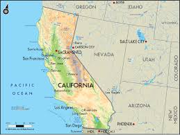 detailed clear large road geographical map of california and