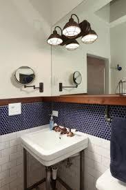 bathrooms design blue subway tile mirrored subway tiles grey