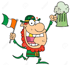 happy leprechaun with a golden tooth running with green beer