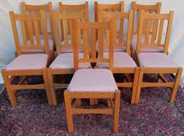 Mission Oak Dining Chairs Set Of Nine Stickley Brothers Quaint Furniture Mission Oak Dining