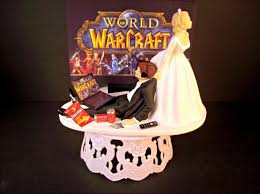 gamer wedding cake topper world of warcraft and groom headphones laptop