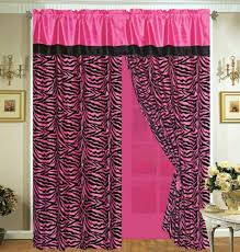 Pink Cheetah Print Curtains 4 Pieces Faux Silk Pink With Black Zebra Window Curtain