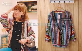 2018 womens vintage rainbow striped retro sweater three large
