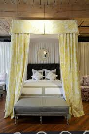 Vintage Bedroom Decorating Ideas Canopy Bed With High Headboard And Yellow Fabric Curtains For