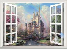 Disney Bedroom Wall Stickers Disney Fairy Castle Rainbow 3d Window Wall Decals Removable