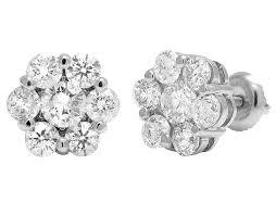 white gold diamond stud earrings unisex 14k white gold flower cluster real diamond stud