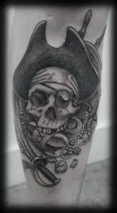 skull of pirate with rom bottle and sword tattoos pm