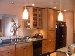 Galley Kitchen Lighting Ideas by Kitchen Brown Wooden Kitchen Cabinet With Pendant Lamp Lighting