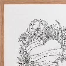 personalised botanical heart tattoo print by letterfest