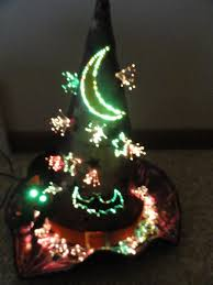 fiber optic purple witch hat table top halloween decoration 13