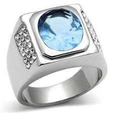 stainless steel mens rings stainless steel men s ring with a light blue in