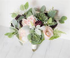 silk wedding bouquets blush burgundy bouquet peonies roses succulents silk wedding
