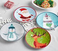 christmas dinnerware merry bright christmas plates pottery barn kids