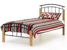 Beech Bed Frame Serene Tetras Black Metal And Beech Bed Frame Small