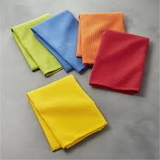 salsa solid dish towels set of 5 crate and barrel