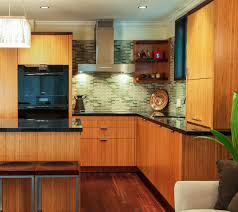Green Kitchen Cabinets Modern Kitchen With Bamboo Cabinets Eco Friendly Green Kitchen
