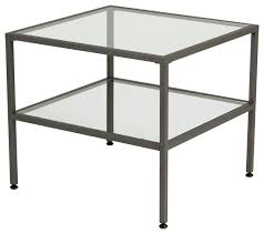 metal and glass end tables studio designs camber end table pewter and clear glass view in for