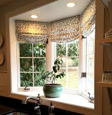 Kitchen Bay Window Curtain Ideas Custom Shades In Lacefield Imperial Bisque Fabric By The