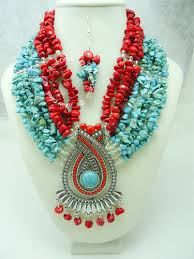 handmade statement necklace images Zahara red coral and turquoise beads statement necklace jpg