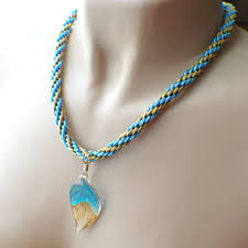 braided necklace images Sky blue gold silver glass leaf kumihimo braided necklace JPG